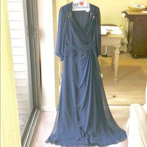 Tadashi Shoji Navy Long sleeves wedding dress.